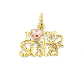 9ct-Gold-I-Love-My-Sister-Heart-Pendant on sale