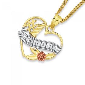9ct-Gold-Tri-Tone-1-Grandma-Heart-Pendant on sale