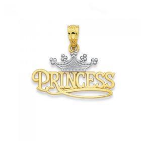 9ct-Gold-Two-Tone-Princess-Crown-Pendant on sale