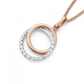 9ct-Rose-Gold-Two-Tone-Double-Circle-Pendant on sale