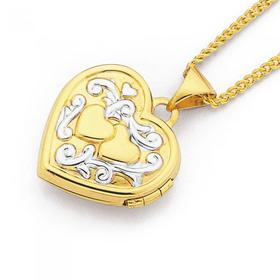 9ct-Gold-Two-Tone-15mm-Double-Heart-Locket on sale