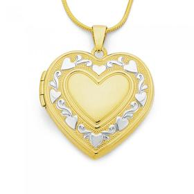 9ct-Gold-Two-Tone-24mm-Heart-Locket on sale