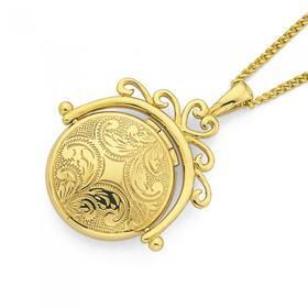 9ct-Gold-21mm-Filigree-Engraved-Domed-Round-Spinner-Locket on sale