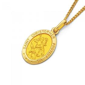 9ct-Gold-16mm-Oval-St-Christopher-Medallion-Pendant on sale