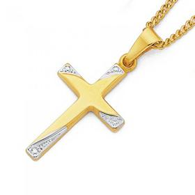 9ct-Gold-Two-Tone-18mm-Diamond-cut-Cross-Pendant on sale