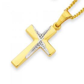 9ct-Two-Tone-Gold-Diamond-Cut-Cross-Pendant on sale