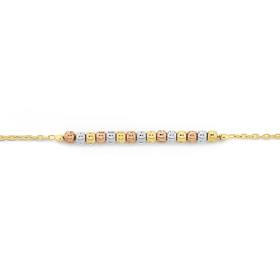 9ct-Gold-Three-Tone-27cm-Beaded-Cable-Anklet on sale
