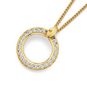 9ct-Gold-Cubic-Zirconia-Open-Circle-Pendant on sale