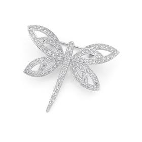 Silver-Cubic-Zirconia-Dragonfly-Brooch on sale