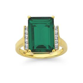 9ct-Gold-Created-Emerald-and-Diamond-Ring on sale