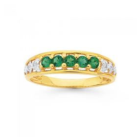 9ct-Gold-Created-Emerald-Diamond-Ring on sale