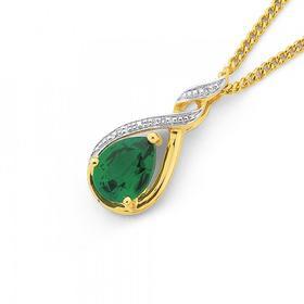 9ct-Gold-Created-Emerald-Diamond-Pendant on sale
