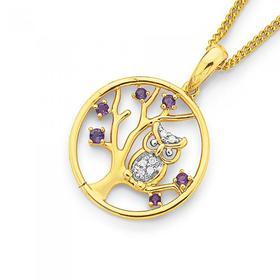 9ct-Gold-Amethyst-Diamond-Owl-on-Tree-Circle-Pendant on sale