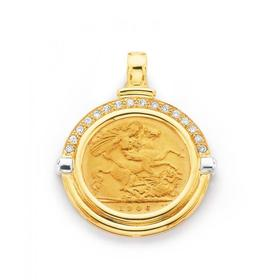 9ct-Gold-Diamond-Set-Half-Sovereign-Enhancer-Pendant on sale