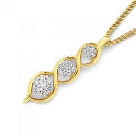 9ct-Gold-Diamond-Swirl-Pendant on sale