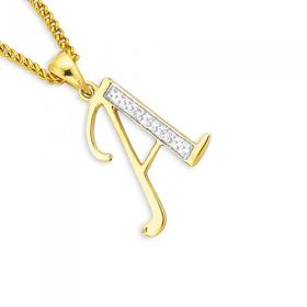 9ct-Gold-Diamond-Initial-A-Pendant on sale