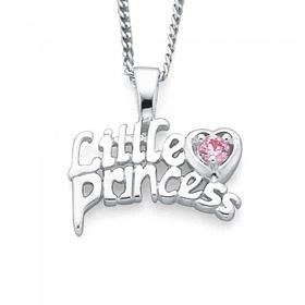 Sterling-Silver-Pink-Cubic-Zirconia-Princess-Pendant on sale