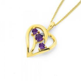 9ct-Gold-Amethyst-Diamond-Trilogy-Heart-Swirl-Pendant on sale
