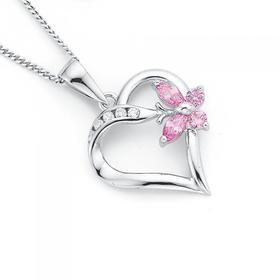 Sterling-Silver-Pink-Cubic-Zirconia-Butterfly-Heart-Pendant on sale