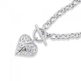 Sterling-Silver-45cm-Filigree-Heart-Cable-Fob-Necklet on sale