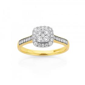 9ct-Gold-Diamond-Cushion-Shape-Cluster-Ring on sale