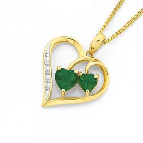 9ct-Gold-Created-Emerald-Diamond-Heart-Pendant on sale