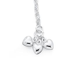 Silver-25cm-Rope-Anklet-With-3-Hearts on sale