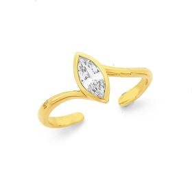 9ct-Gold-Marquise-Cubic-Zirconia-Toe-Ring on sale