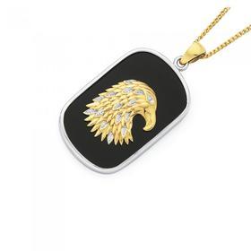 9ct-Two-Tone-Silver-Eagle-Head-Onyx-Dog-Tag-Pendant on sale
