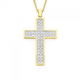 9ct-Gold-Two-Tone-Diamond-Cross-Pendant on sale