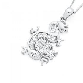 Silver-CZ-Dragon-Pendant on sale