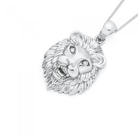 Silver-CZ-Lion-Pendant on sale
