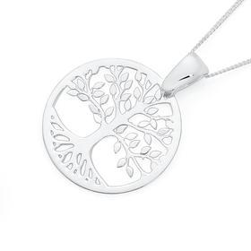 Silver-Round-Tree-of-Life-Plain-and-Matt-Reversible-Pendant on sale