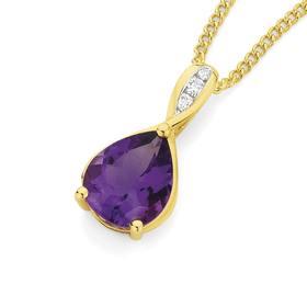 9ct-Gold-Amethyst-Diamond-Pear-Shape-Pendant on sale