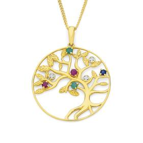9ct-Gold-Ruby-Emerald-Sapphire-Diamond-Tree-of-Life-Pendant on sale