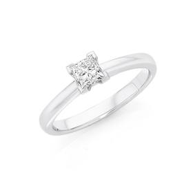18ct-White-Gold-Diamond-Princess-Cut-Solitaire-Ring on sale