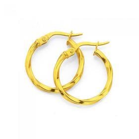 9ct-Gold-2x15mm-Twist-Hoop-Earrings on sale