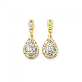 9ct-Gold-Diamond-Cluster-Pear-Shape-Drop-Earrings on sale