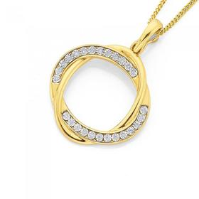9ct-Gold-Diamond-Open-Intertwined-Double-Oval-Pendant on sale