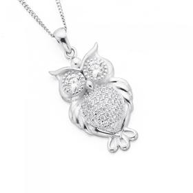 Sterling-Silver-Pave-Cubic-Zirconia-Owl-Pendant on sale
