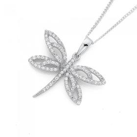 Sterling-Silver-Cubic-Zirconia-Dragonfly-Pendant on sale