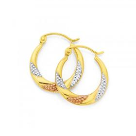 9ct-Gold-Tri-Tone-Pleated-Creole-Earrings on sale
