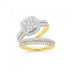 18ct-Gold-Diamond-Cluster-Cushion-Shape-Bridal-Set on sale