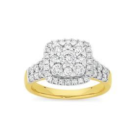 9ct-Gold-Diamond-Cushion-Shape-Dress-Ring on sale