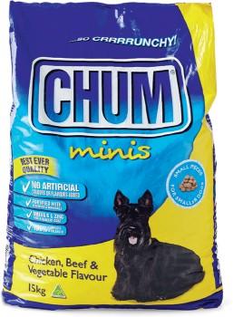 Chum-Dry-Dog-Minis-Food-15kg-Chicken-Beef-Vegetable on sale