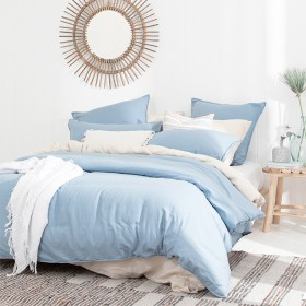 Washed+Linen+Look+Denim+Quilt+Cover+Set+by+Essentials