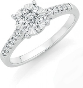 9ct-White-Gold-Diamond-Cluster-Engagement-Ring on sale