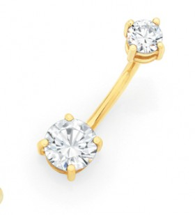 9ct-Gold-Double-Round-CZ-Belly-Bar on sale