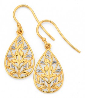 9ct-Gold-Two-Tone-Tree-of-Life-Earrings on sale