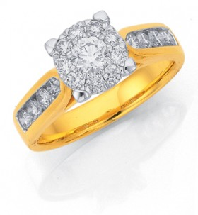 18ct-Gold-Diamond-Cluster-Engagement-Ring on sale